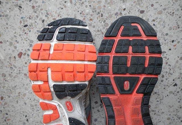 Slitmönster Nike Structure Triax vs LunarElite framfot