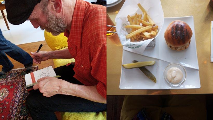 Releaseparty och hamburgartallrik